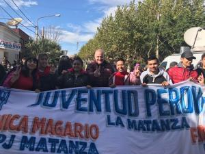 Puella con los compañeros de la Juventud Peronista de la Matanza