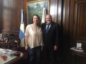 Marcelo Puella junto a la diputada de la Ciudad María Rosa Muiños